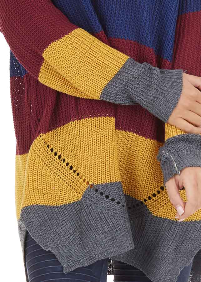 Multi Color Striped Lightweight Sweater with Long Sleeves detail