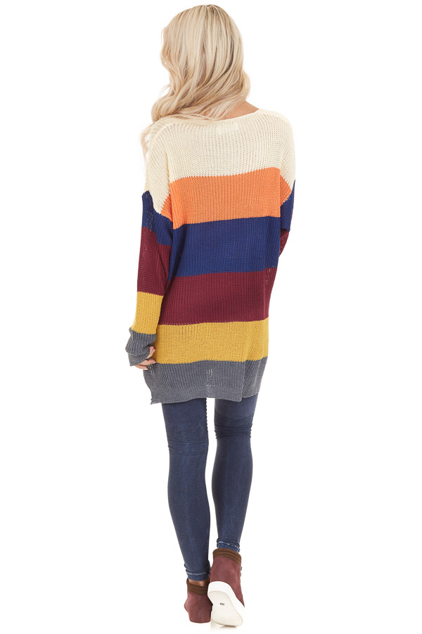 Multi Color Striped Lightweight Sweater with Long Sleeves back full body