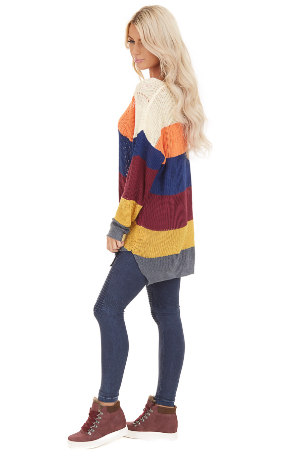 Multi Color Striped Lightweight Sweater with Long Sleeves side full body