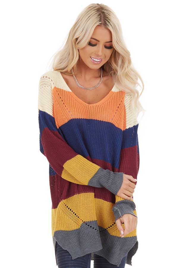 Multi Color Striped Lightweight Sweater with Long Sleeves front close up