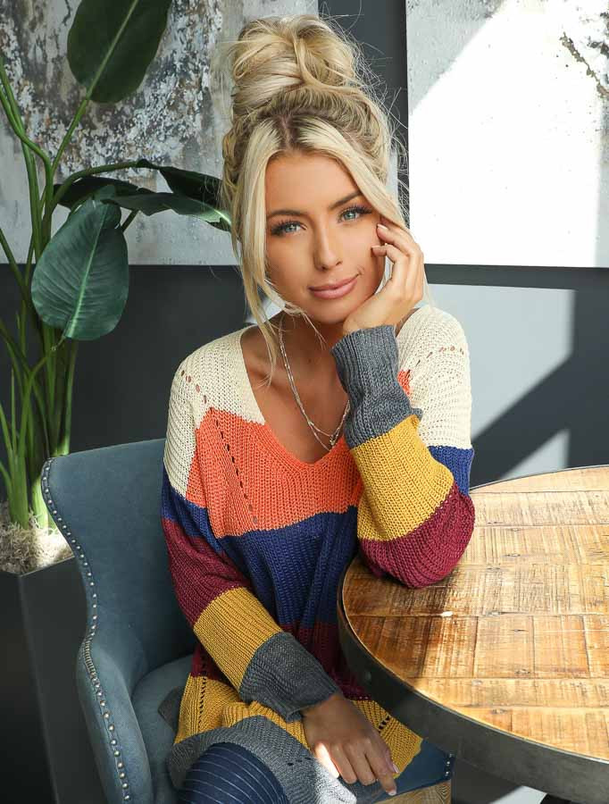 Multi Color Striped Lightweight Sweater with Long Sleeves