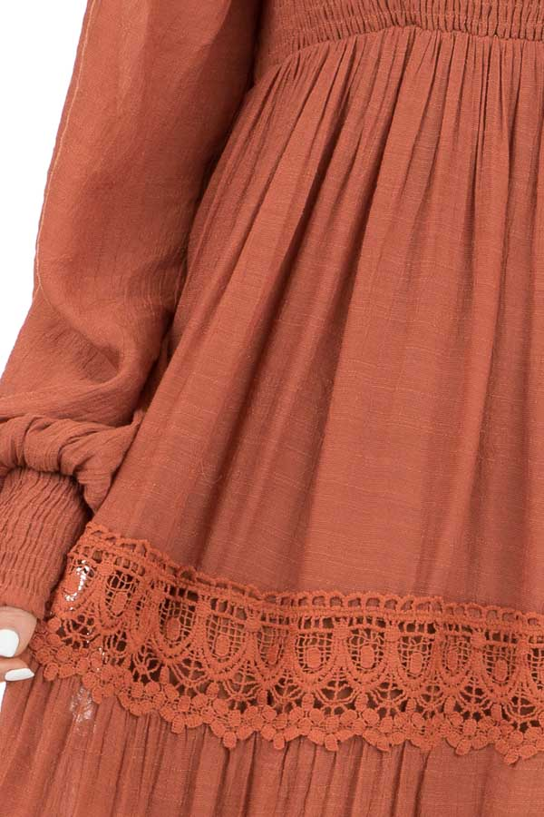 Rust Long Sleeve Smocked Maxi Dress with Crochet Lace Detail detail