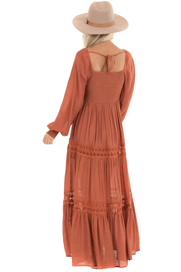 Rust Long Sleeve Smocked Maxi Dress with Crochet Lace Detail back full body