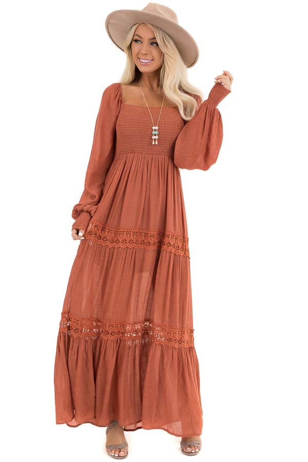 Rust Long Sleeve Smocked Maxi Dress with Crochet Lace Detail front full body