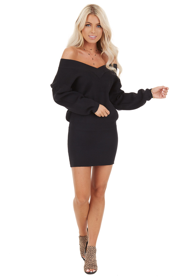 Black Off The Shoulder Long Sleeve Mini Sweater Dress