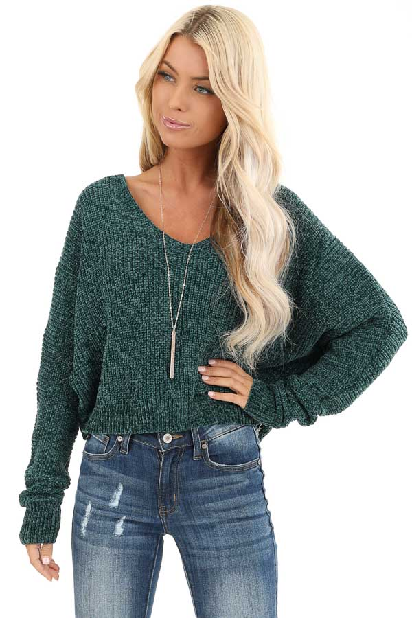 Hunter Green V Neck Long Sleeve Chenille Sweater Top front close up