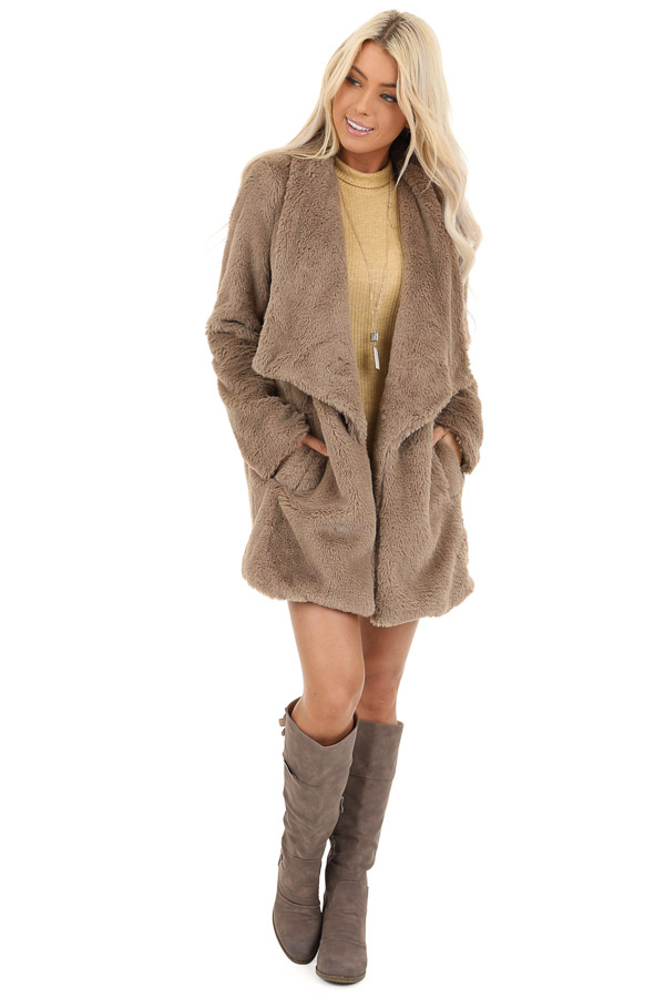 Latte Faux Fur Long Sleeve Jacket with Side Pockets front full body