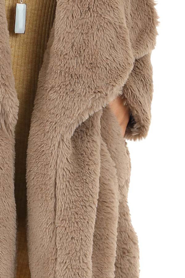 Latte Faux Fur Long Sleeve Jacket with Side Pockets detail
