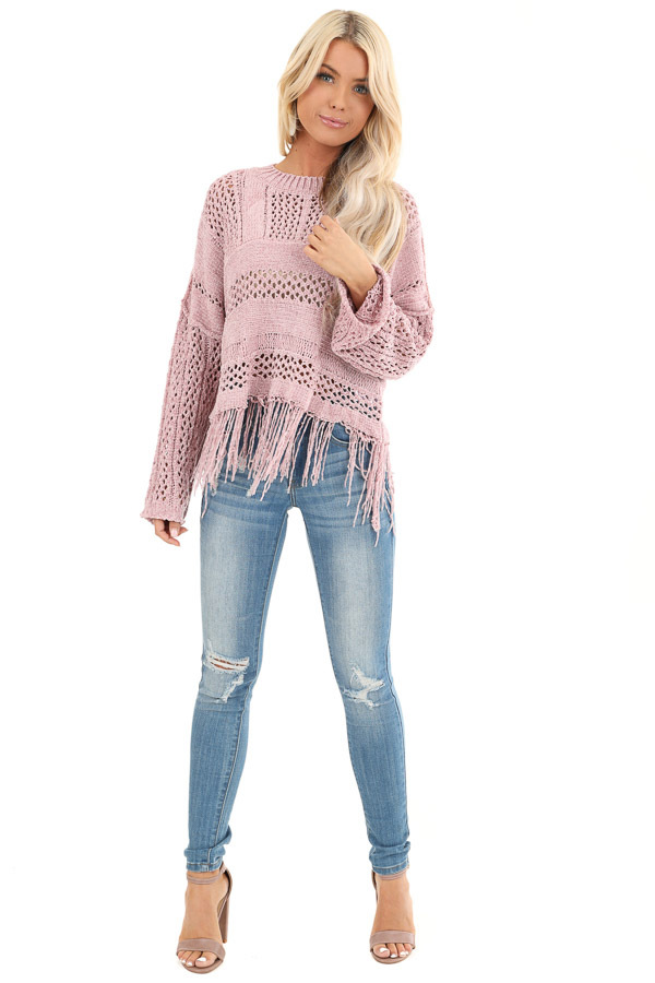 Mauve Super Soft Knit Sweater with Fringe Details front full body