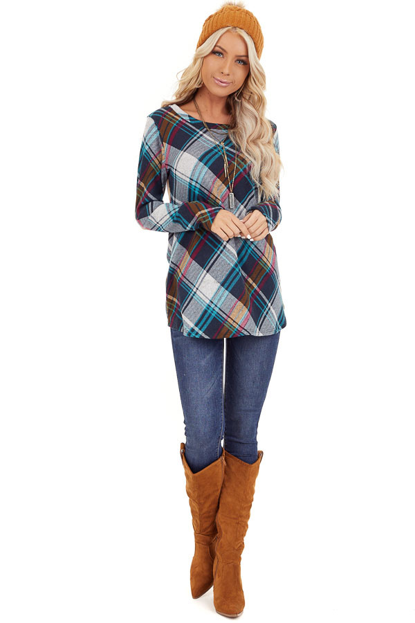 Teal Plaid Long Sleeve Loose Fit Knit Top front full body
