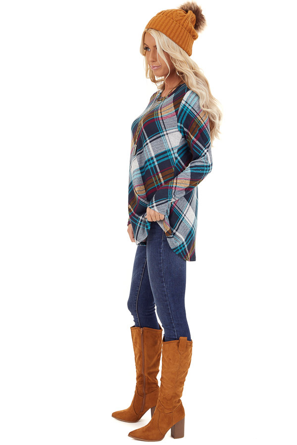 Teal Plaid Long Sleeve Loose Fit Knit Top side full body