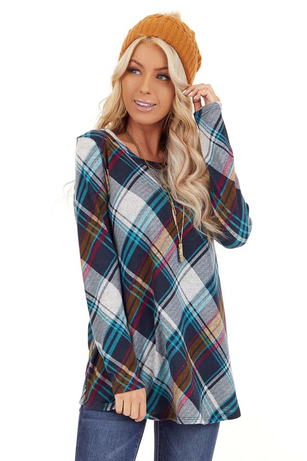 Teal Plaid Long Sleeve Loose Fit Knit Top front close up