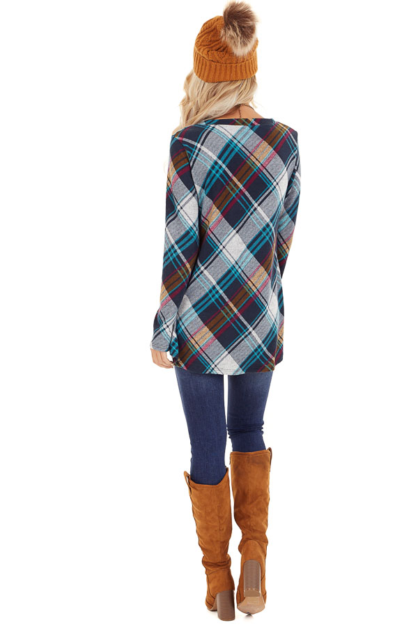 Teal Plaid Long Sleeve Loose Fit Knit Top back full body