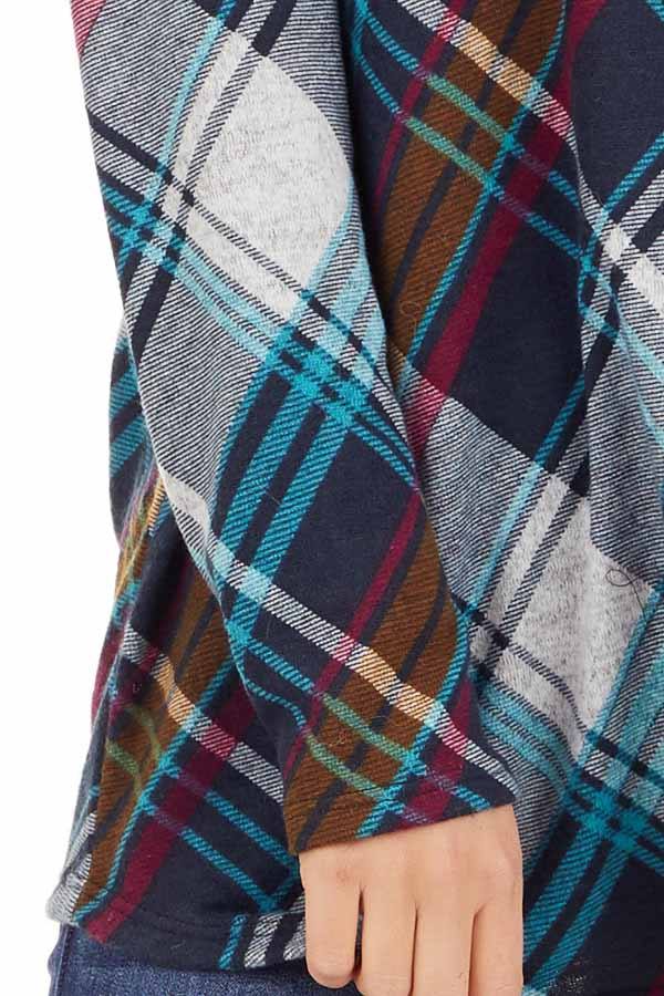 Teal Plaid Long Sleeve Loose Fit Knit Top detail