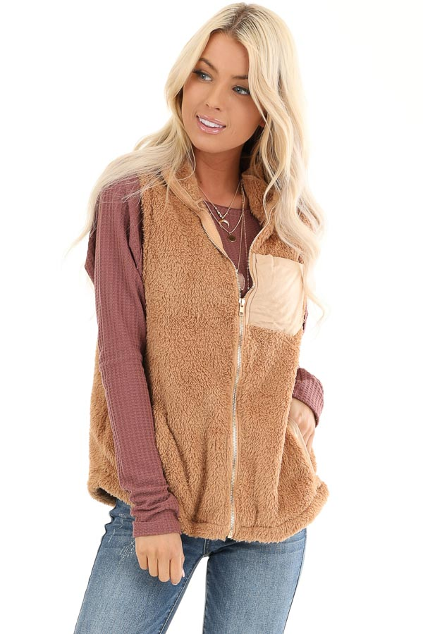 Camel Faux Fur Vest with Suede Chest Pocket Detail front close up