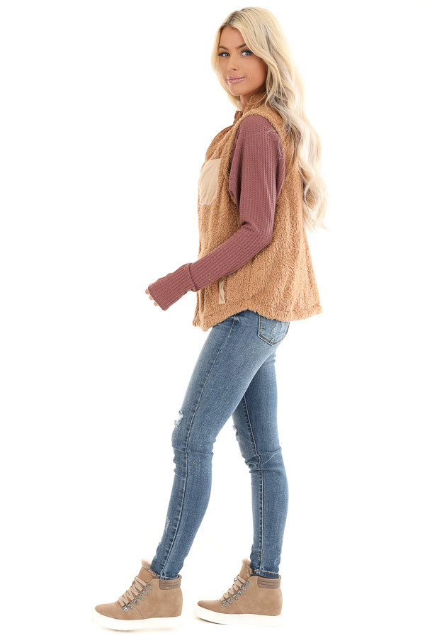 Camel Faux Fur Vest with Suede Chest Pocket Detail side full body