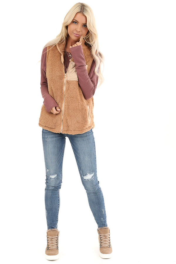 Camel Faux Fur Vest with Suede Chest Pocket Detail front full body