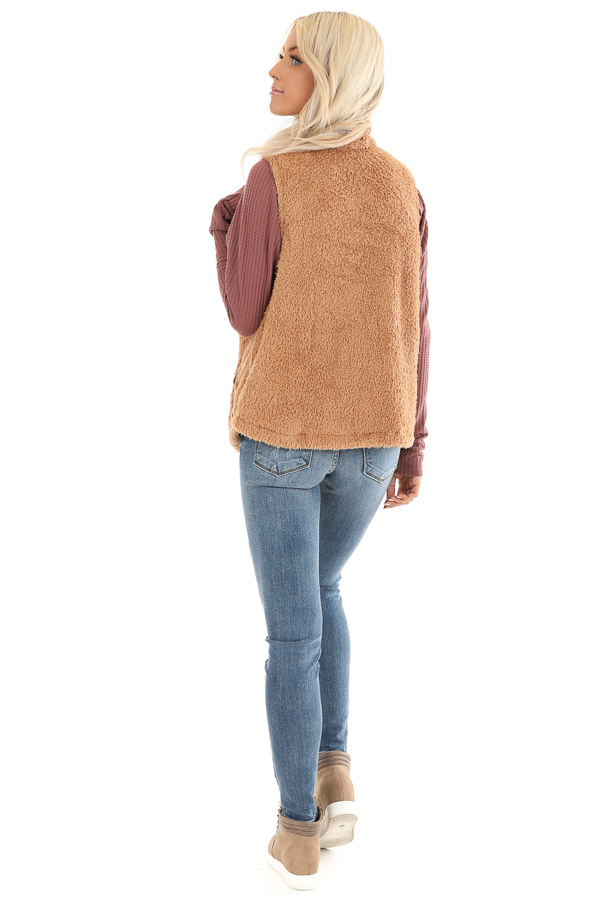 Camel Faux Fur Vest with Suede Chest Pocket Detail back full body