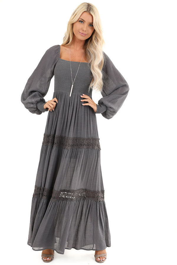 Charcoal Long Sleeve Maxi Dress with Crochet Lace Detail front full body