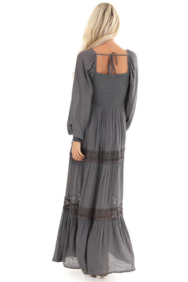 Charcoal Long Sleeve Maxi Dress with Crochet Lace Detail back full body