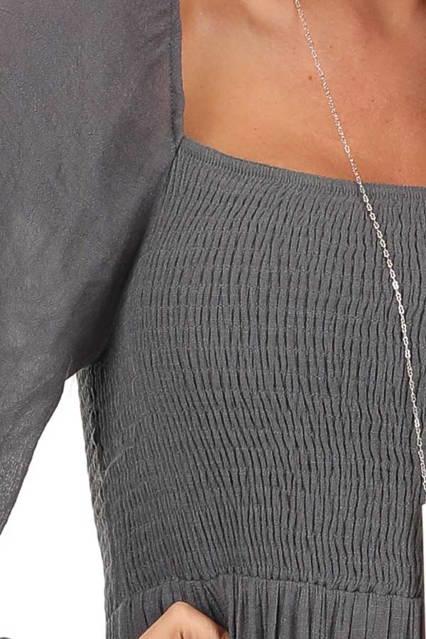 Charcoal Long Sleeve Maxi Dress with Crochet Lace Detail detail