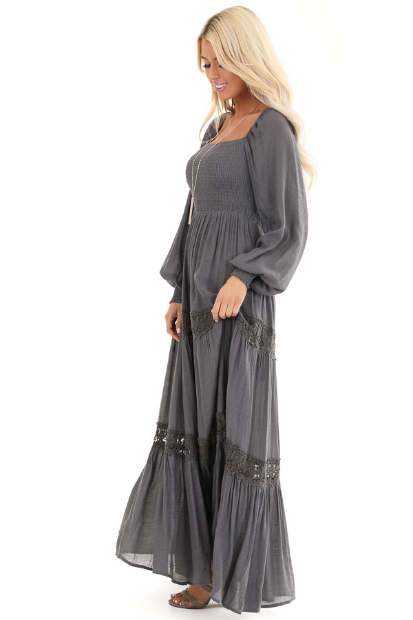 Charcoal Long Sleeve Maxi Dress with Crochet Lace Detail side full body