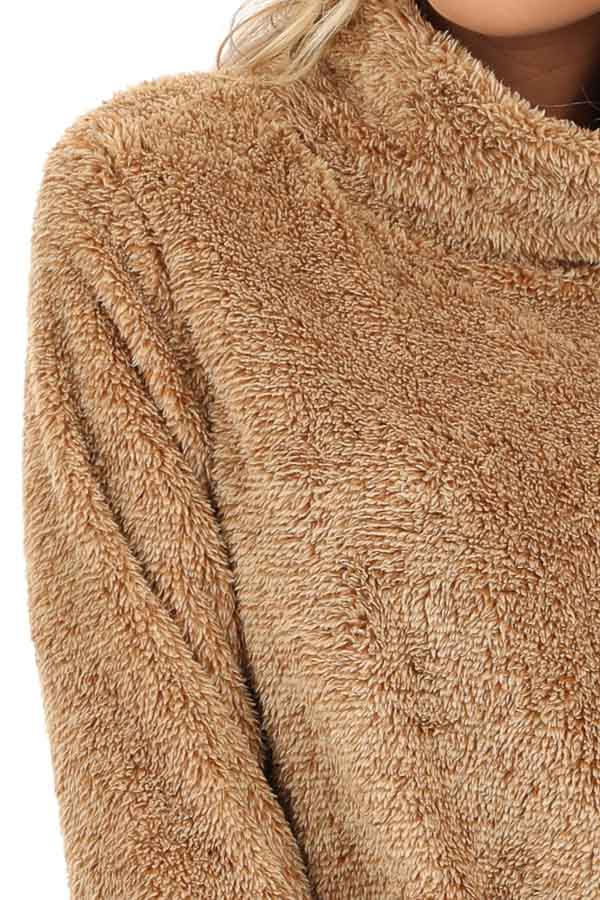 Camel Fuzzy Mock Neck Pullover with Pockets detail