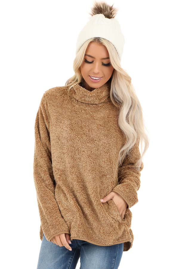 Camel Fuzzy Mock Neck Pullover with Pockets front full body