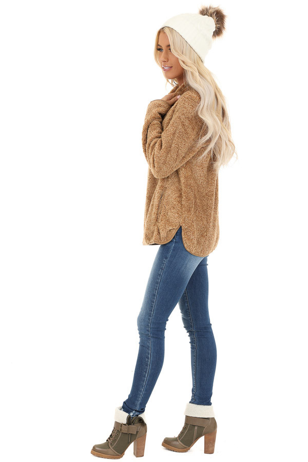 Camel Fuzzy Mock Neck Pullover with Pockets side full body