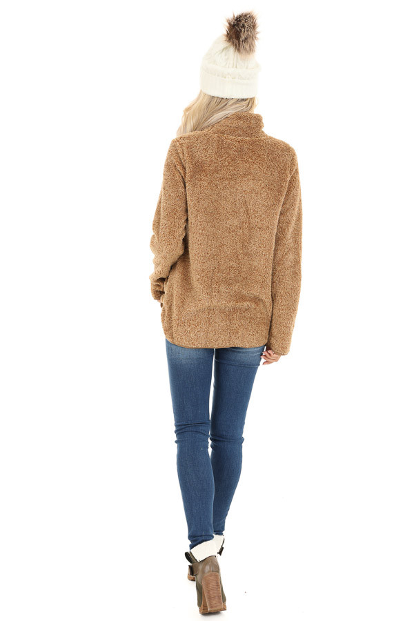 Camel Fuzzy Mock Neck Pullover with Pockets back full body