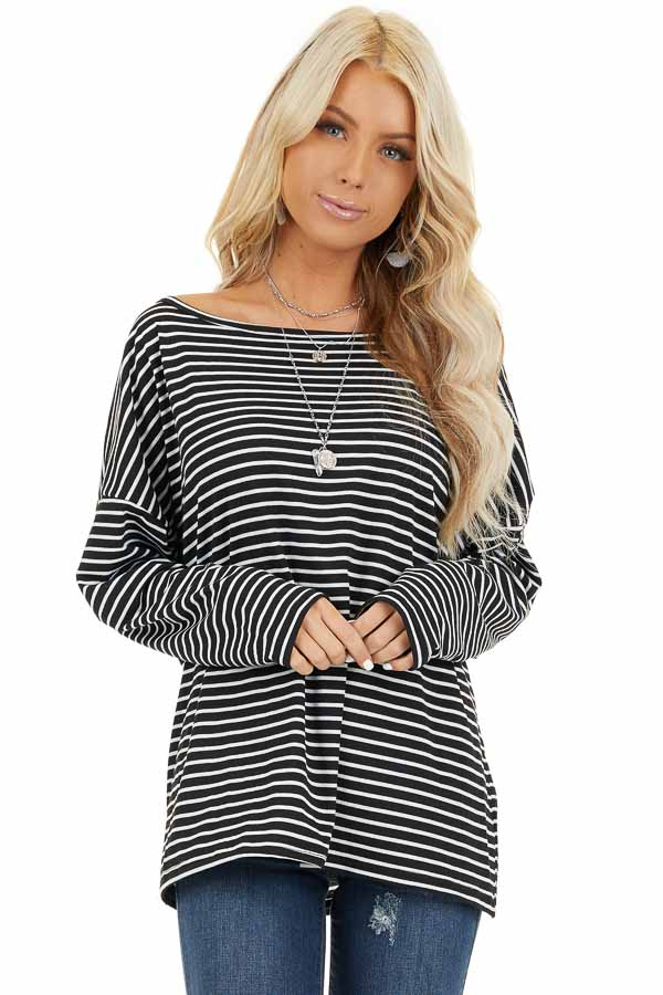 Black and White Striped Long Sleeve Knit Top front close up