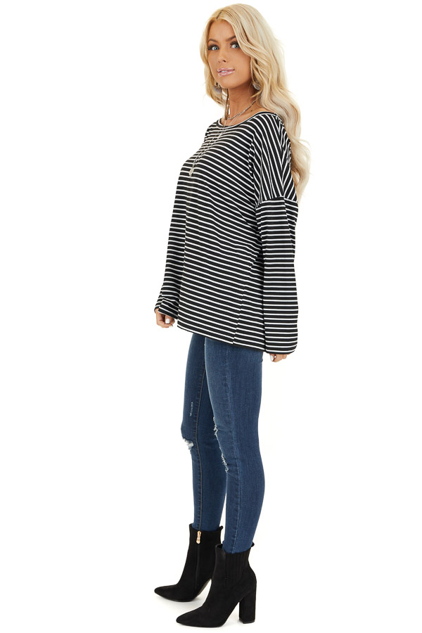 Black and White Striped Long Sleeve Knit Top side full body