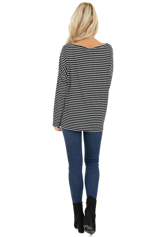 Black and White Striped Long Sleeve Knit Top back full body