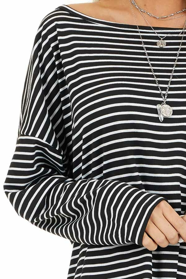 Black and White Striped Long Sleeve Knit Top detail