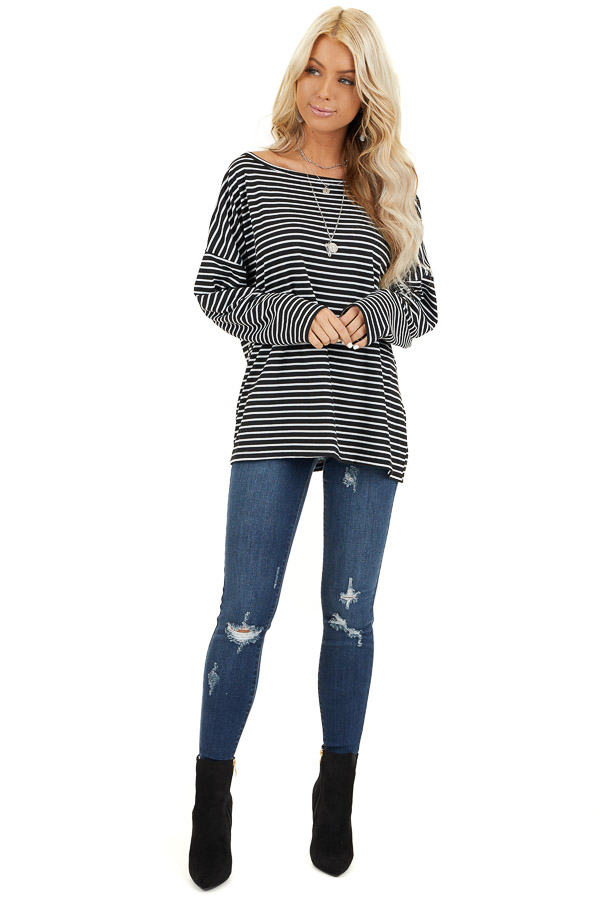 Black and White Striped Long Sleeve Knit Top front full body