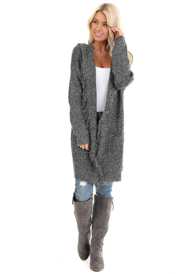 Charcoal Speckled Thigh Length Cardigan with Fringe Details front full body