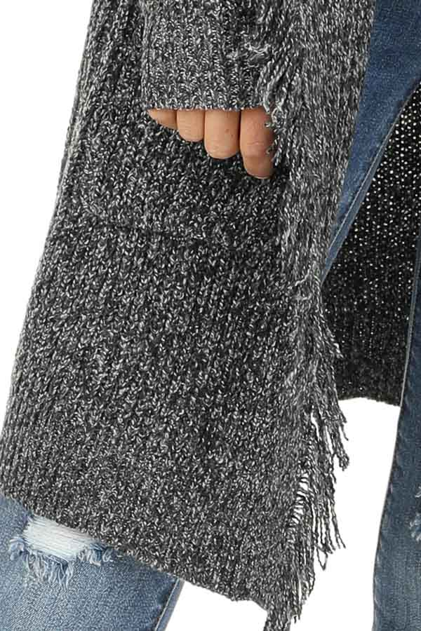 Charcoal Speckled Thigh Length Cardigan with Fringe Details detail