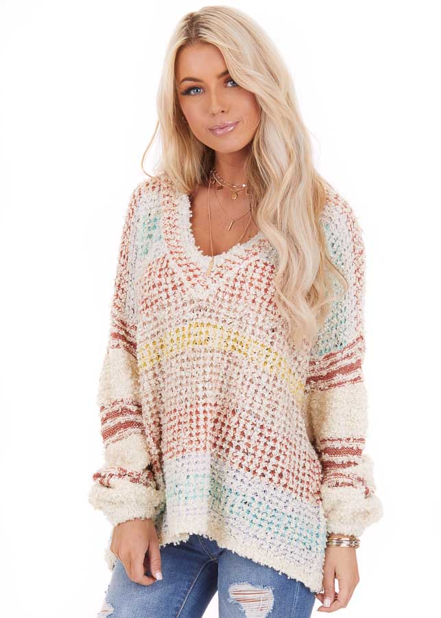 Multicolor Striped Shaggy Long Bubble Sleeve Sweater Top front close up