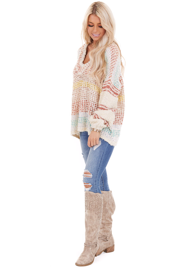 Multicolor Striped Shaggy Long Bubble Sleeve Sweater Top side full body