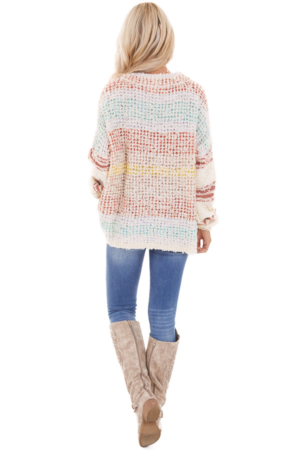 Multicolor Striped Shaggy Long Bubble Sleeve Sweater Top back full body
