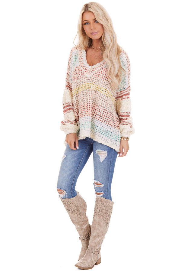 Multicolor Striped Shaggy Long Bubble Sleeve Sweater Top front full body