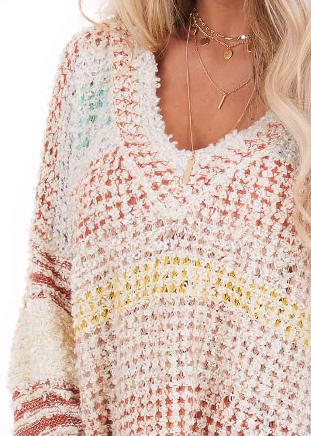 Multicolor Striped Shaggy Long Bubble Sleeve Sweater Top detail