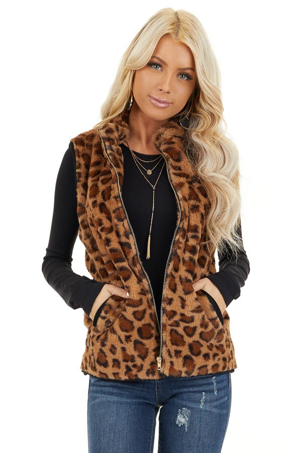 Mocha Leopard Print Faux Fur Vest with Side Pockets front close up