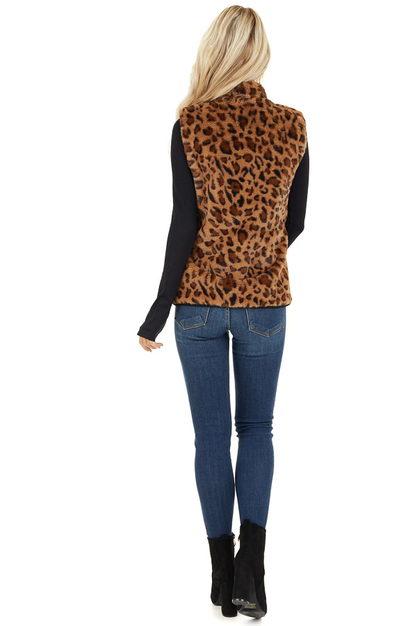 Mocha Leopard Print Faux Fur Vest with Side Pockets back full body