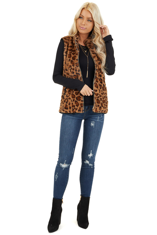 Mocha Leopard Print Faux Fur Vest with Side Pockets front full body
