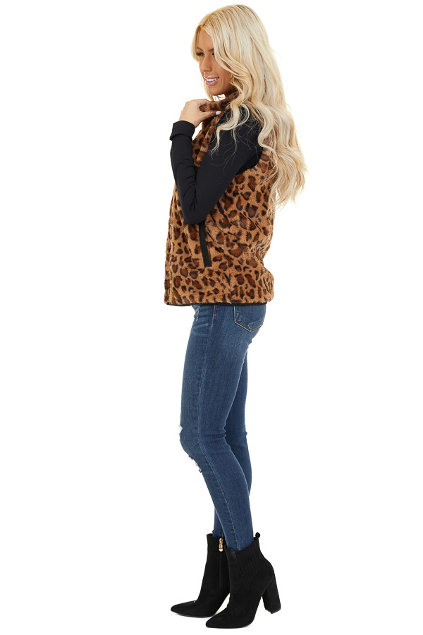 Mocha Leopard Print Faux Fur Vest with Side Pockets side full body