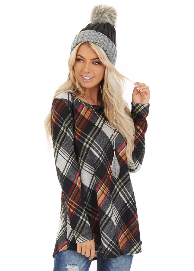 Black Plaid Long Sleeve Loose Fit Knit Top front close up