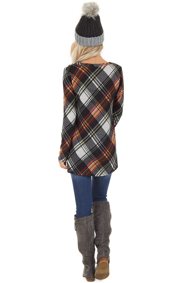 Black Plaid Long Sleeve Loose Fit Knit Top back full body