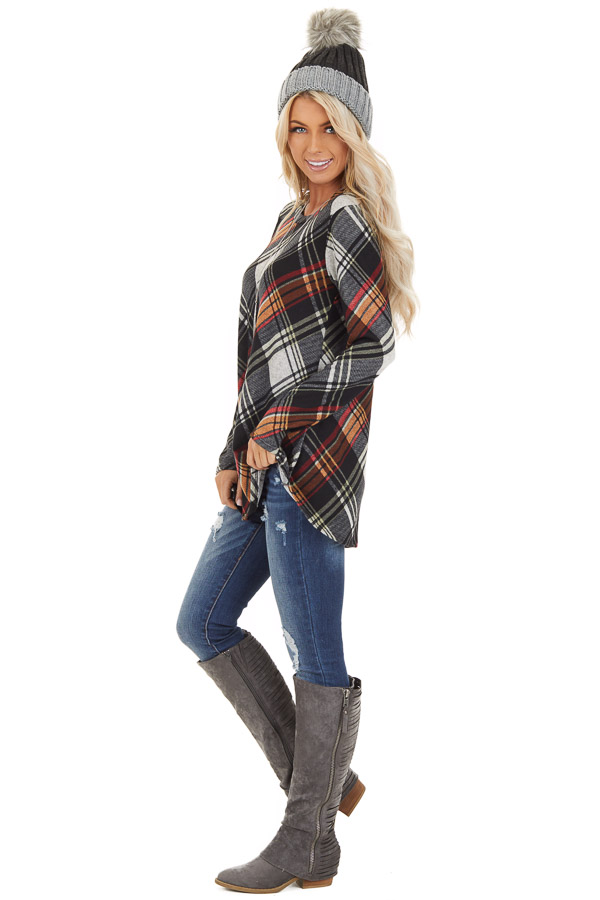 Black Plaid Long Sleeve Loose Fit Knit Top side full body