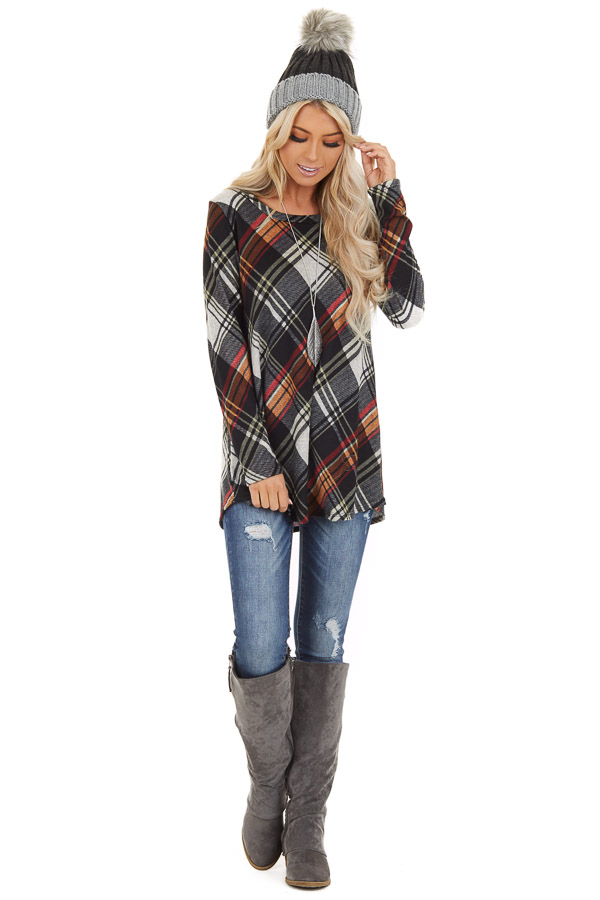 Black Plaid Long Sleeve Loose Fit Knit Top front full body